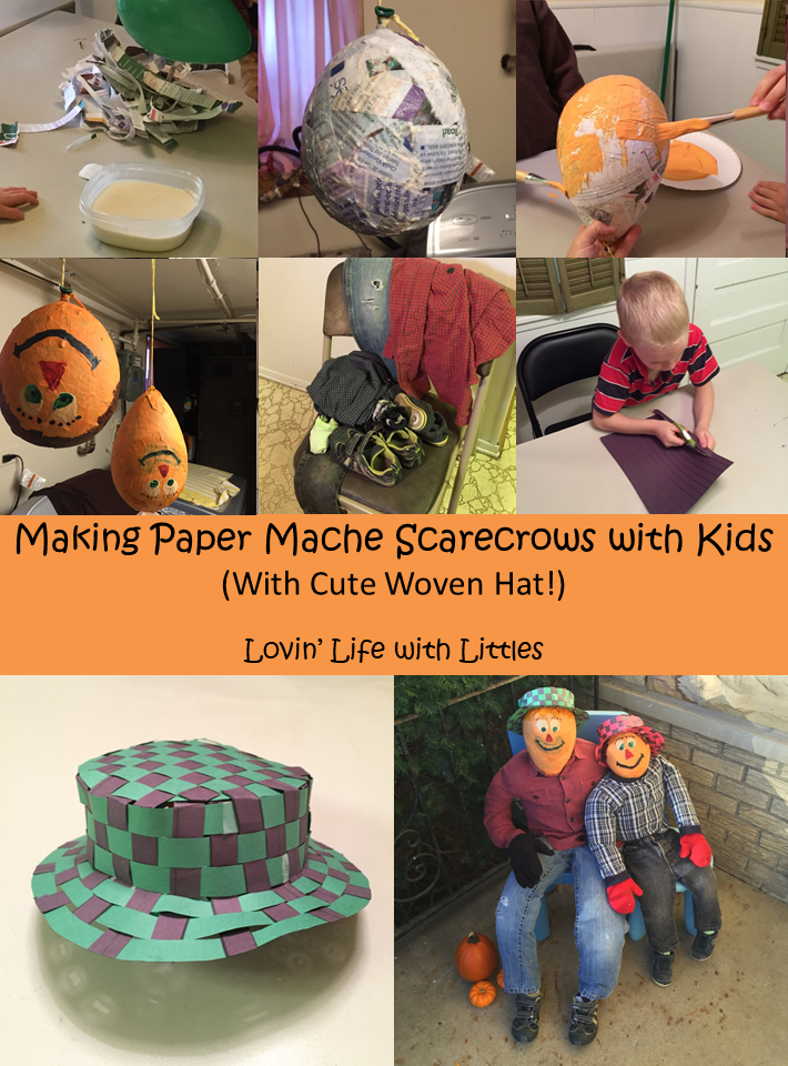 These paper mache scarecrows and woven hats are the perfect autumn craft for your kids.