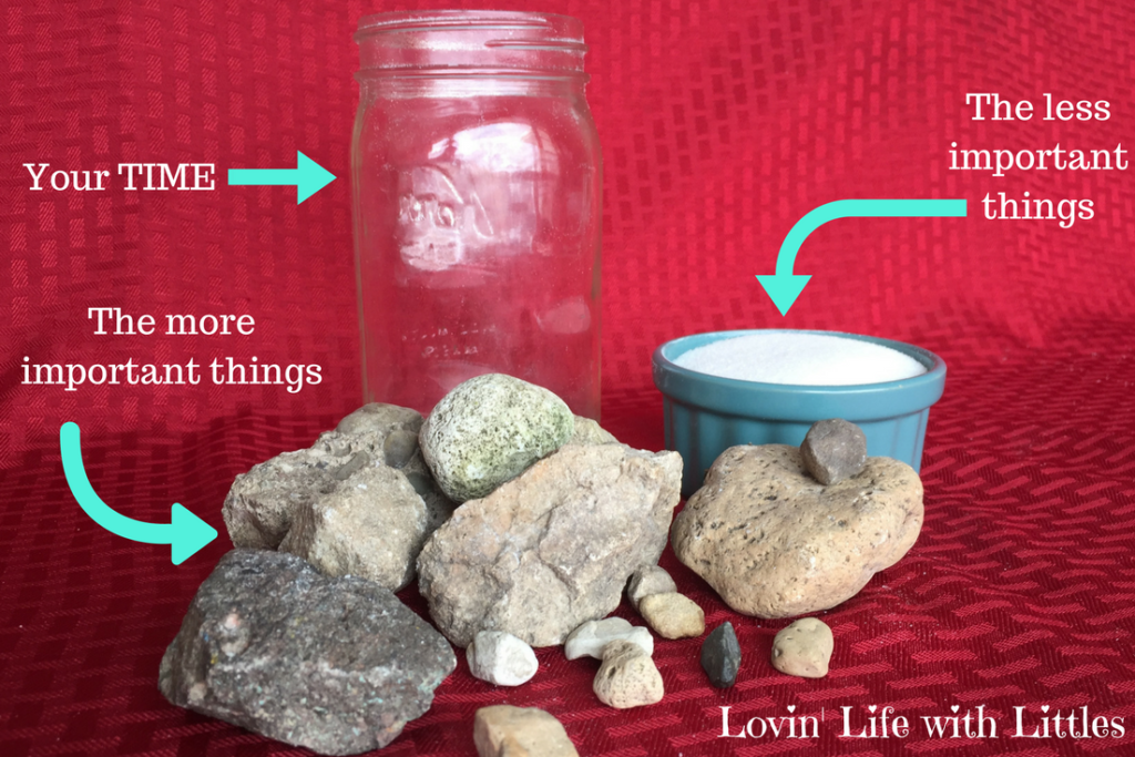 Your time is represented by large rocks (important things) and sand (less important things).