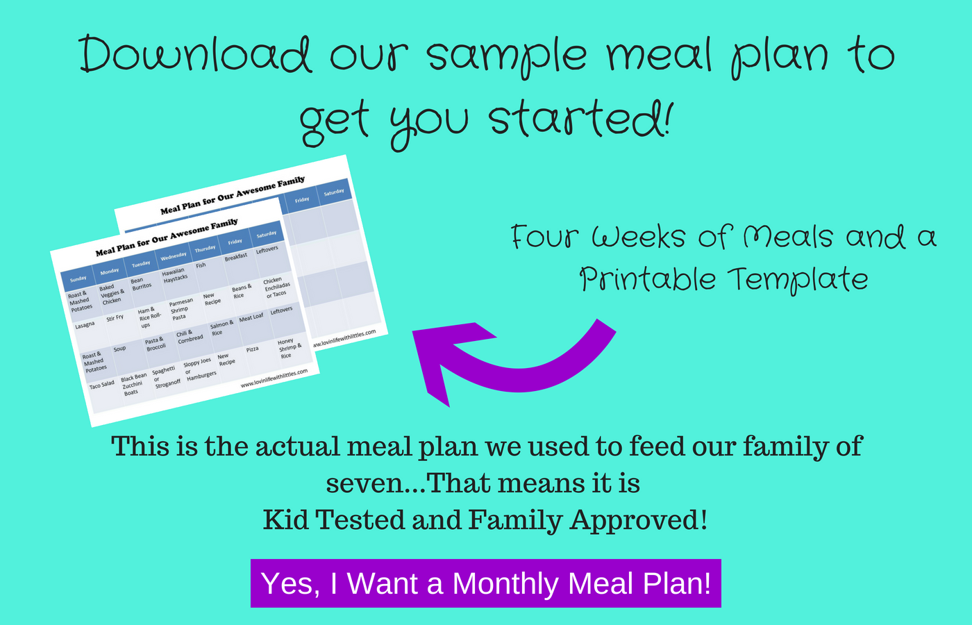 Sample Monthly Meal Plan From Lovinlifewithlittles This Contains Kid Tested