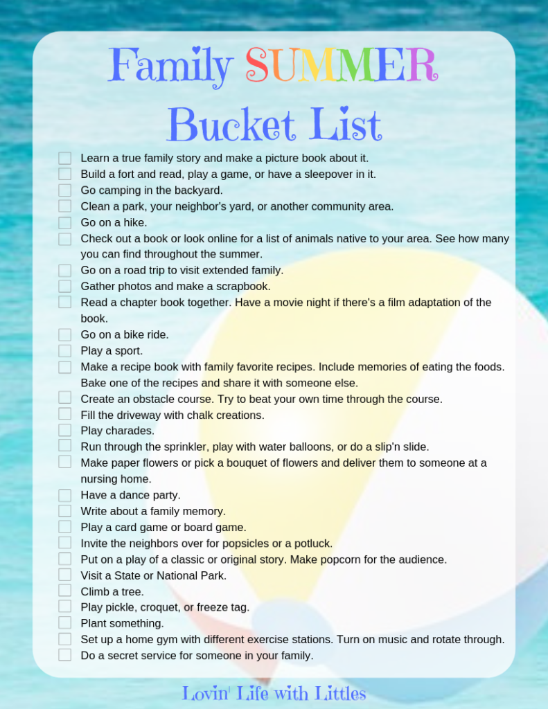 Family Summer Bucket List To Laugh Learn And Love Lovin Life With Littles