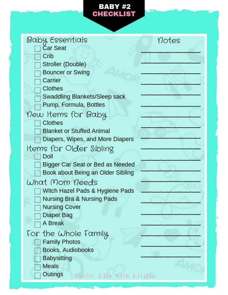Checklist of 24 Items You Need for Your Second Baby ...